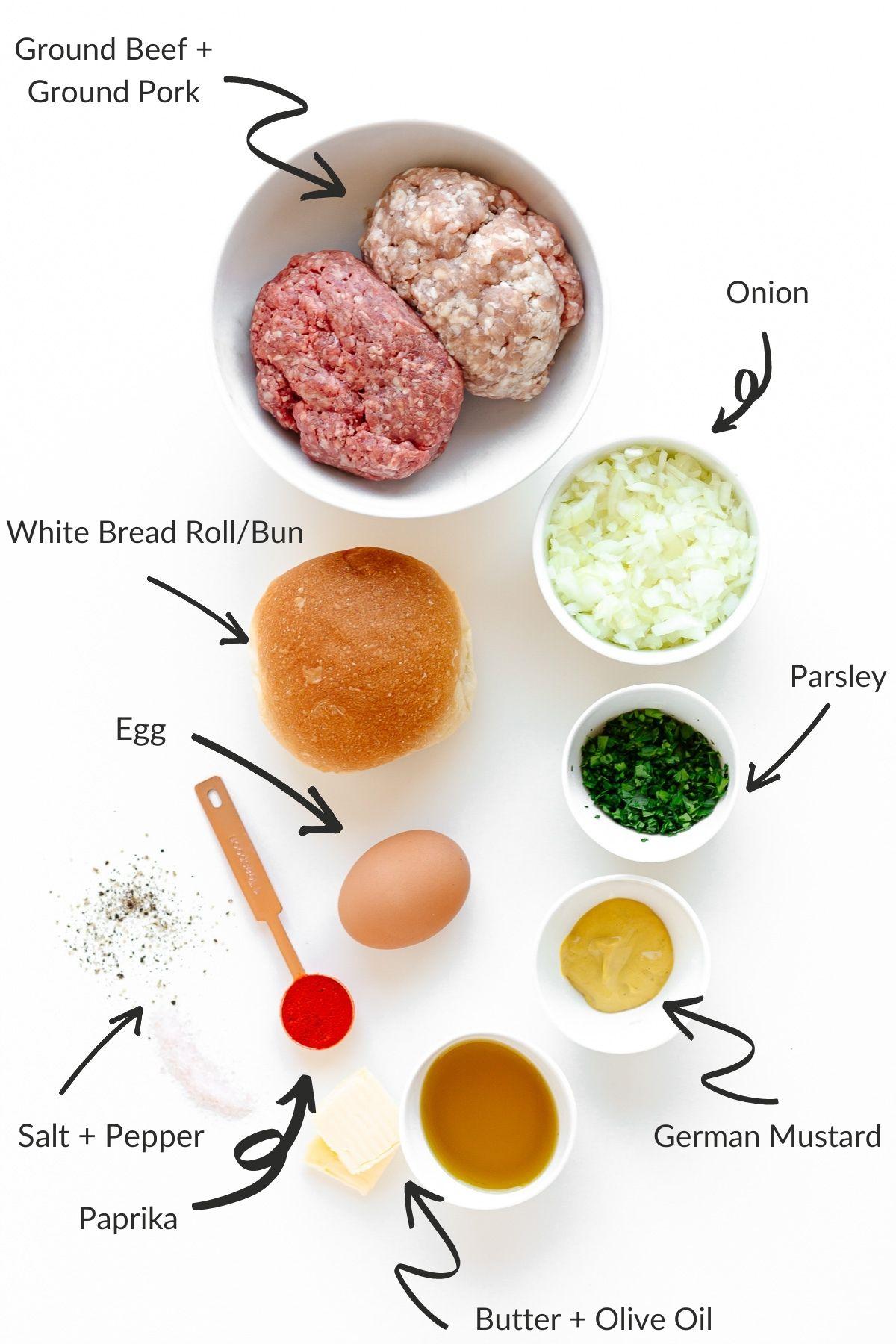 Labelled image of the ingredients needed to make German frikadellen.