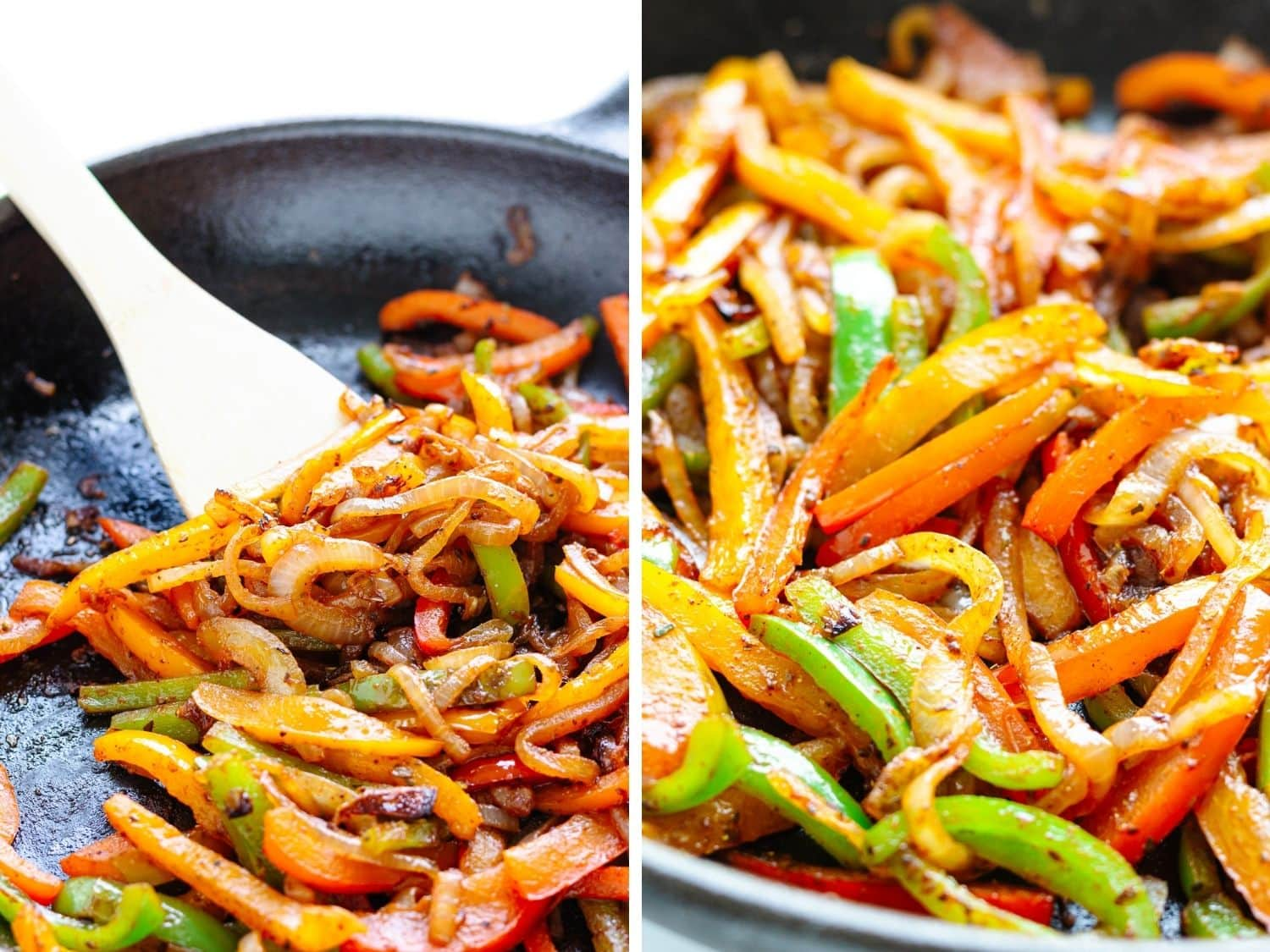 Collage of two photos showing fajita vegetables being cooked in a cast iron pan.