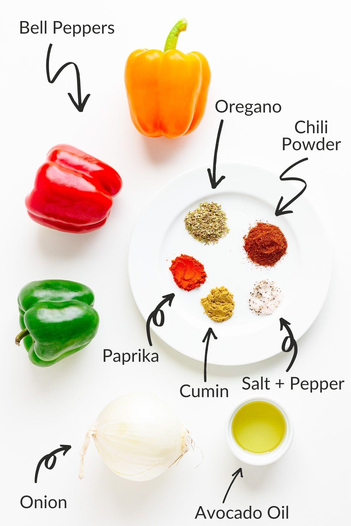 Labelled image of ingredients needed to make fajita veggies.