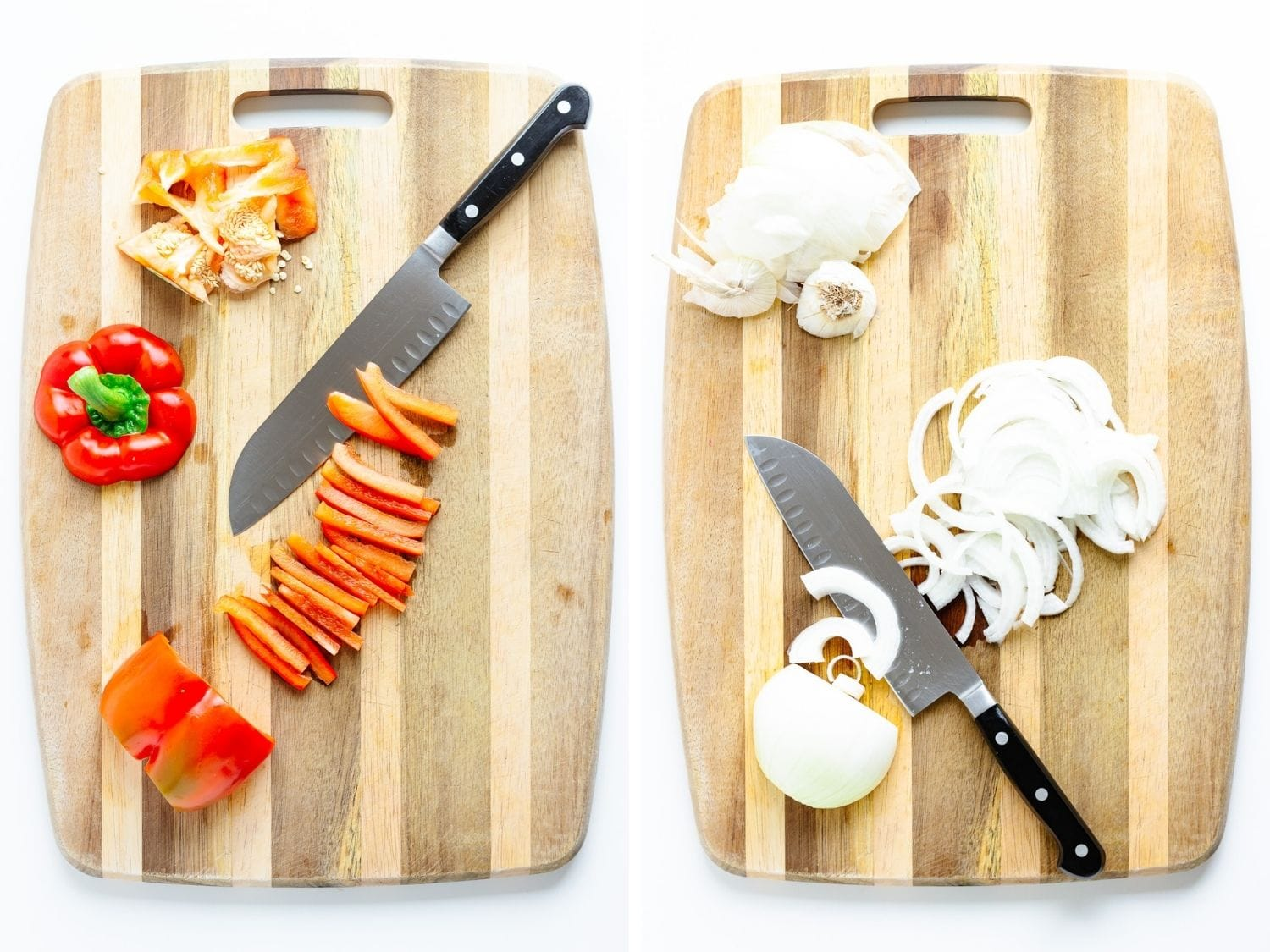 Collage showing a red pepper and an onion being sliced into strips on a wooden cutting board.