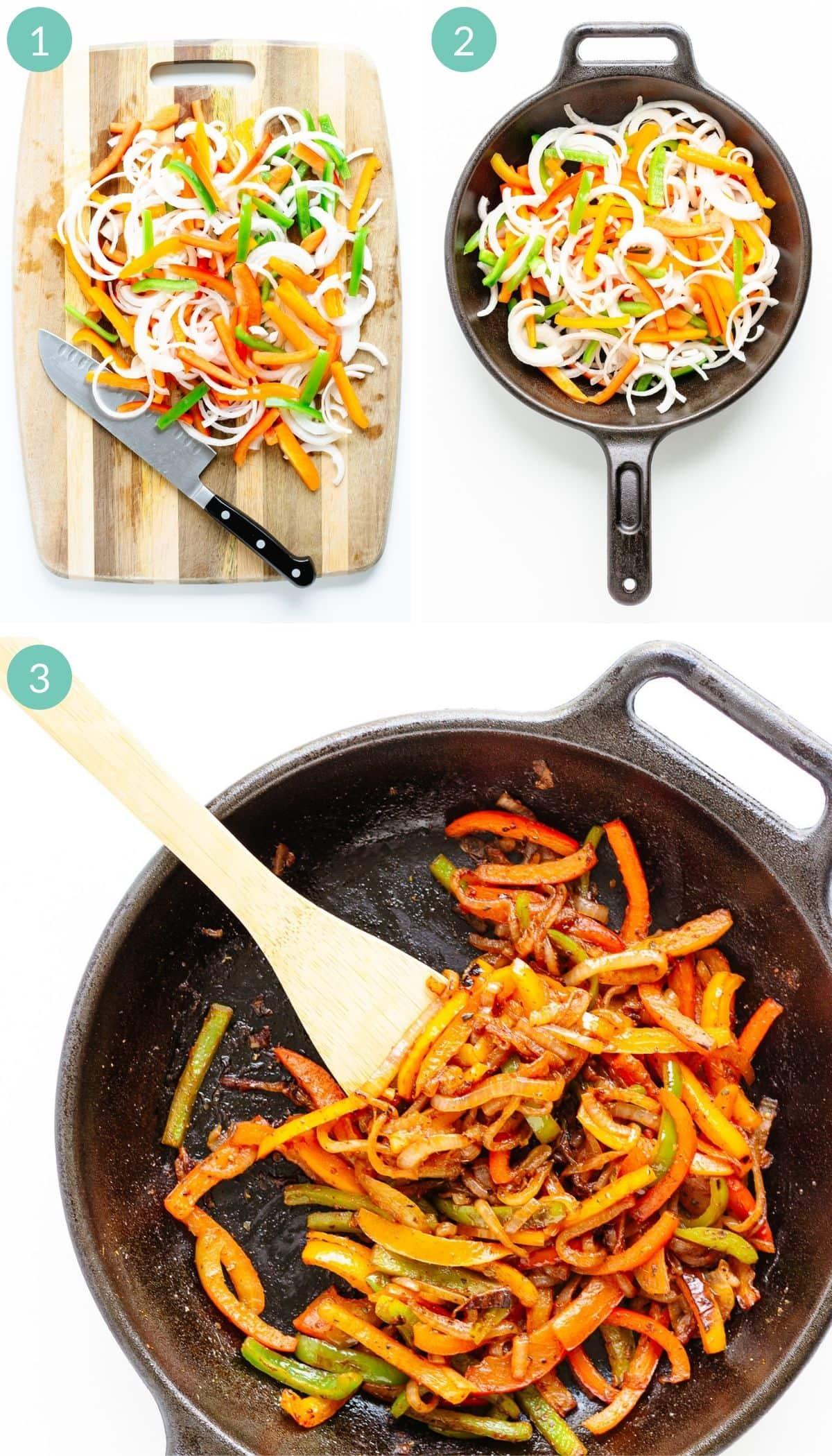 Photo collage showing step-by-step how to make fajita veggies.