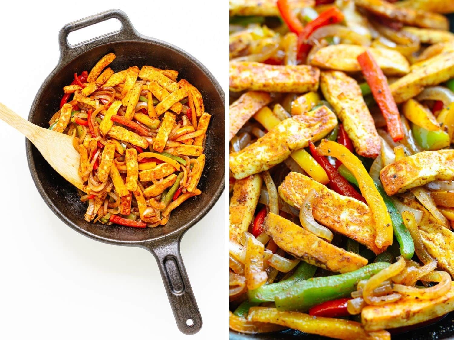 Collage showing halloumi vegetable fajita mixture being stirred in a cast iron skillet and a closeup.