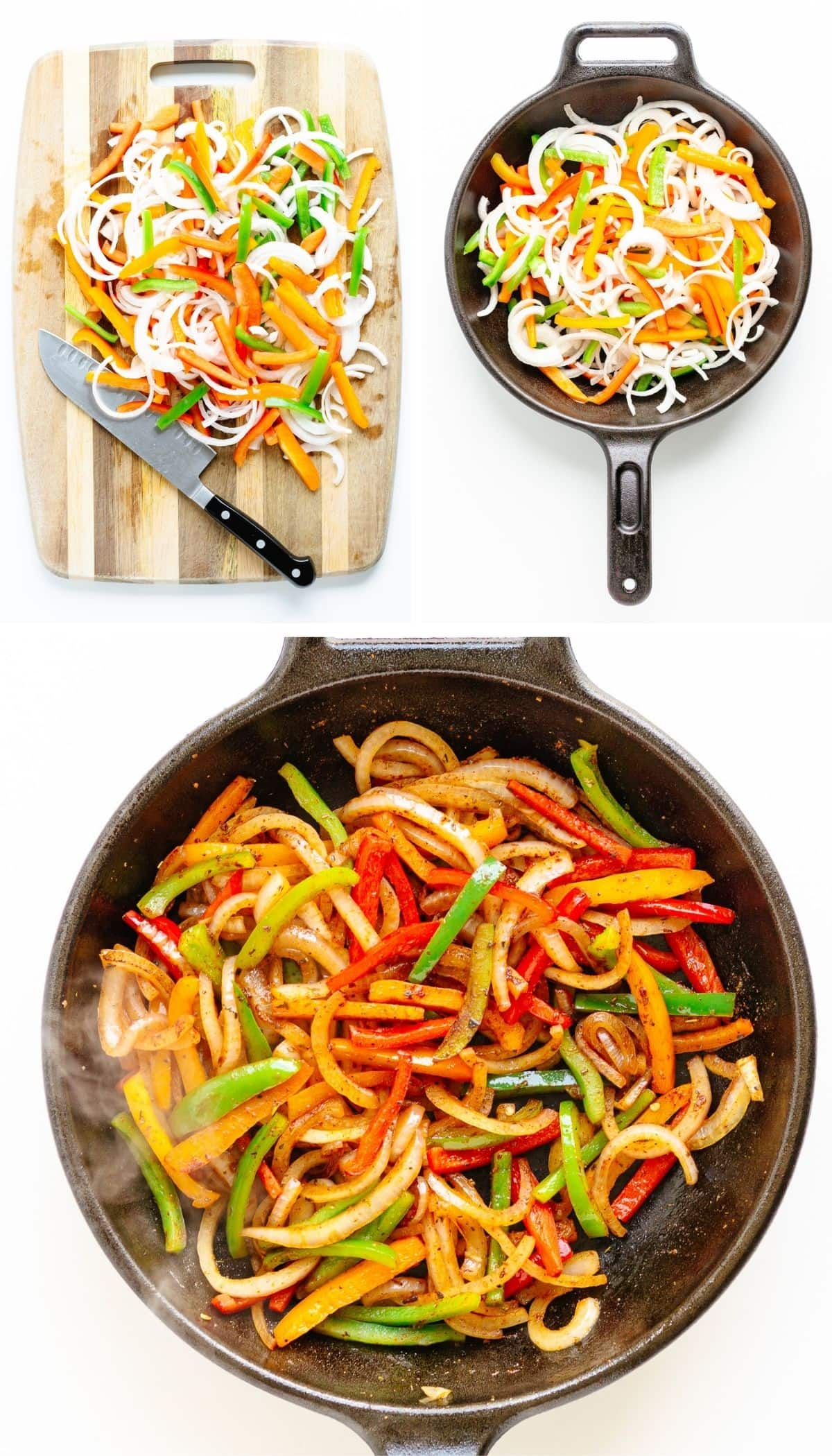 Collage of photos showing fajita veggies being made from sliced peppers and onions on a chopping board to being sautéed in a cast iron skillet.