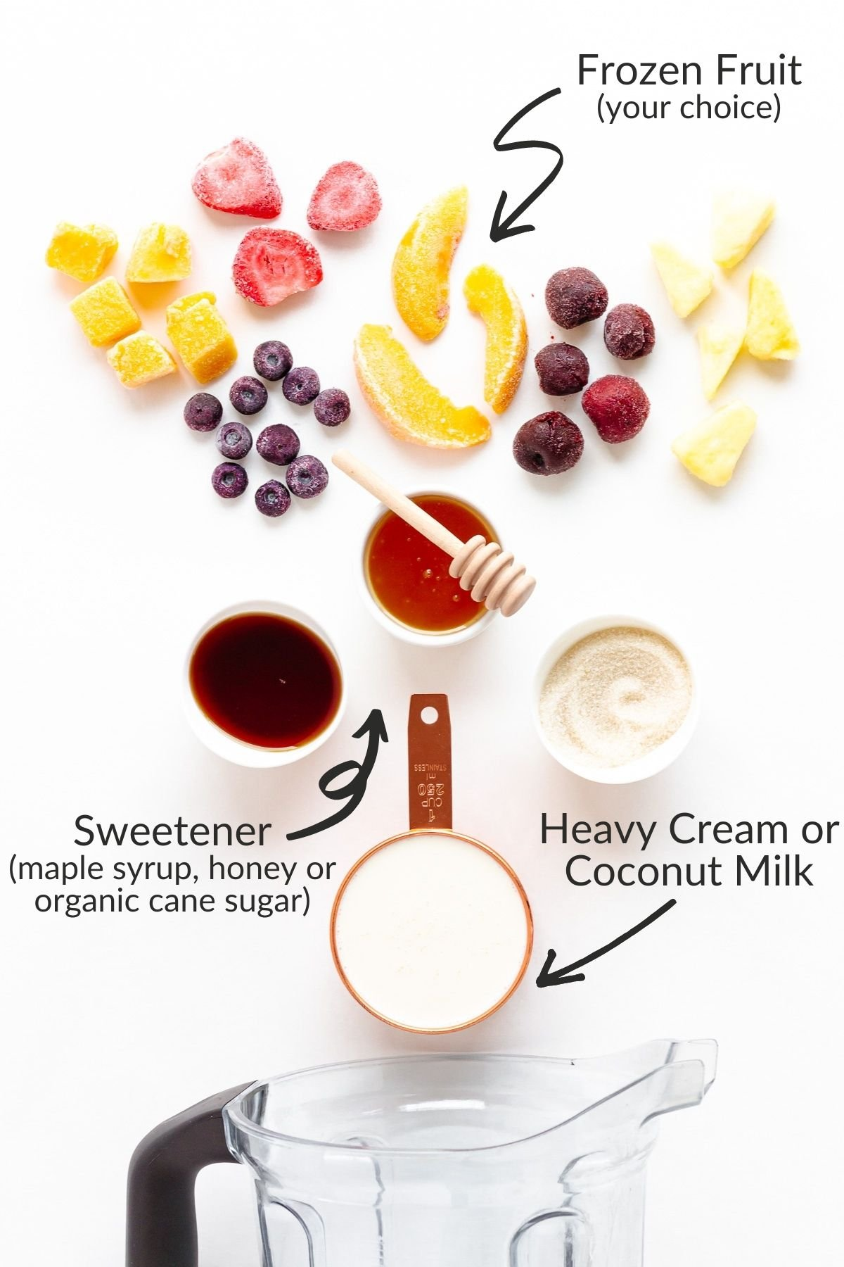 Labelled photo of ingredients needed for easy blender ice cream.