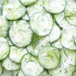 Close up of cucumber yogurt salad with dill.