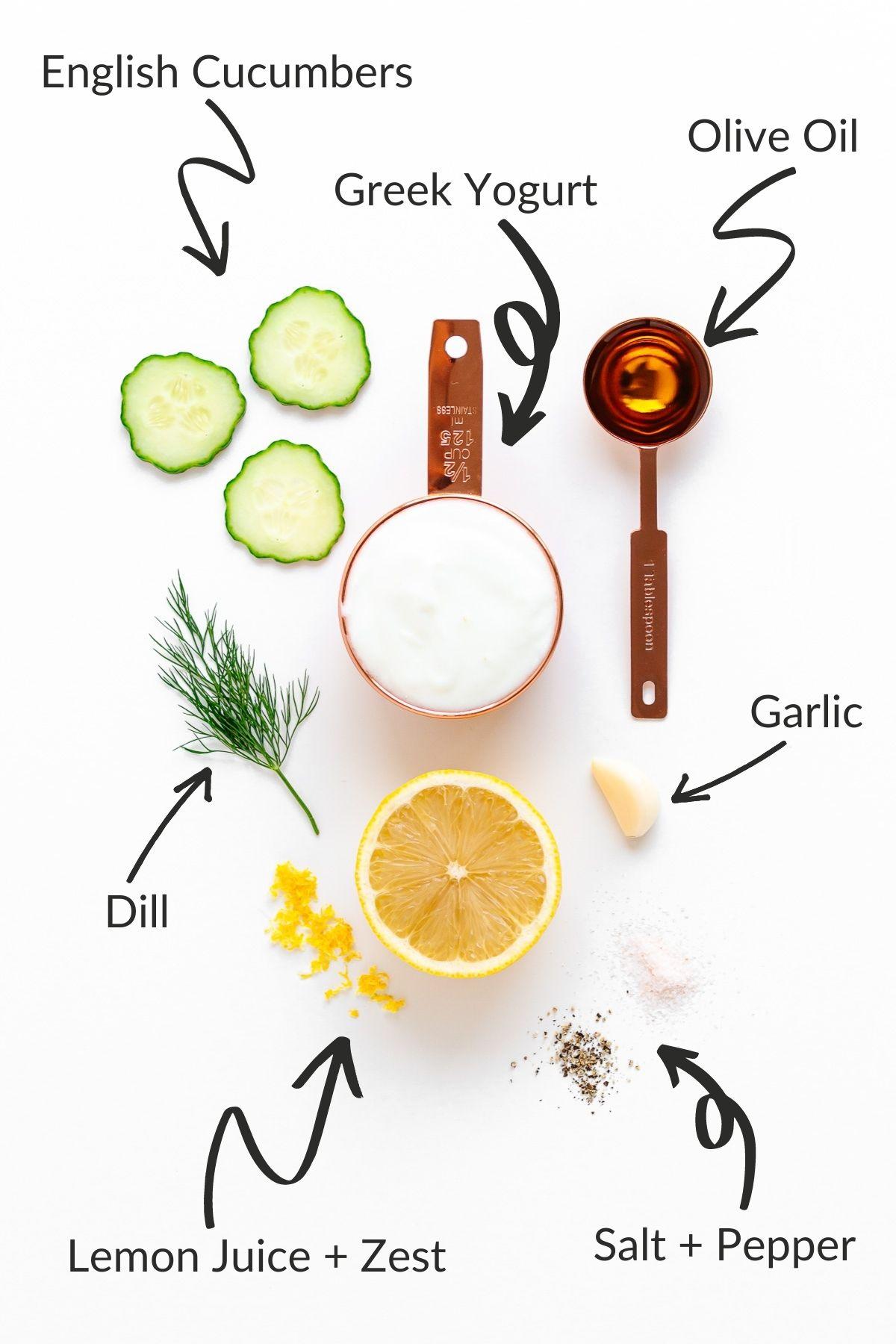 Labelled image showing ingredients needed to make cucumber yogurt salad.