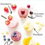 """Labelled photo of six different flavors of ice cream in jars with title """"Easy Blender Ice Cream""""."""
