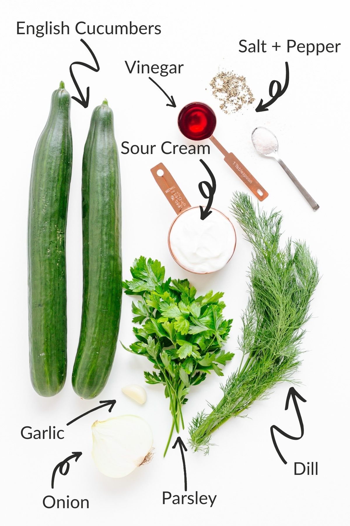 Labelled photo of ingredients needed to make German cucumber salad (Gurkensalat).
