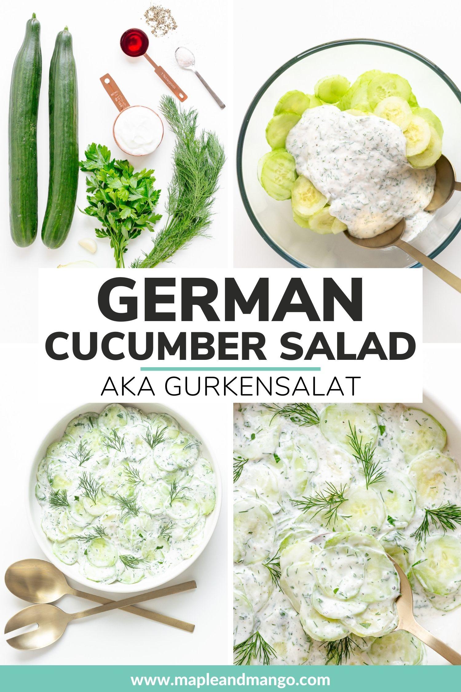 Pinterest collage for German Cucumber Salad (aka Gurkensalat).