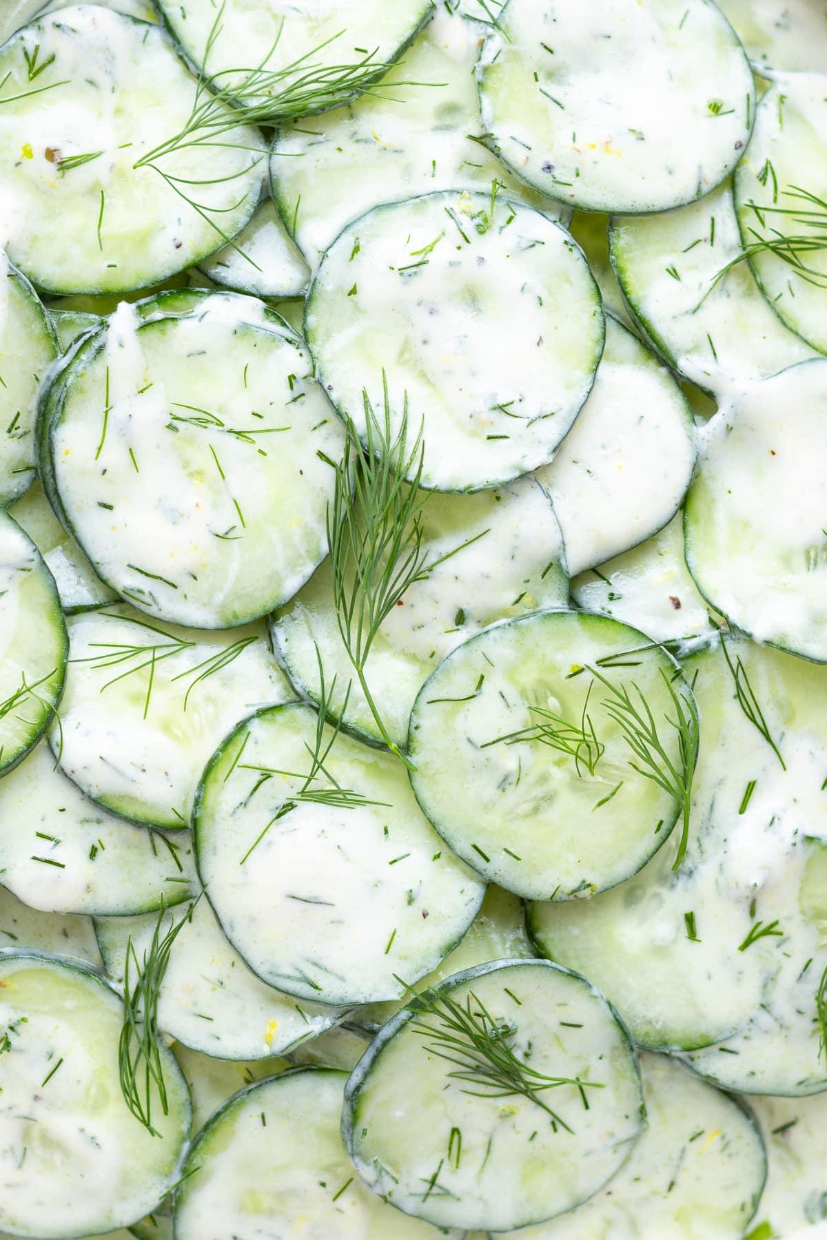 Close up of cucumber salad with greek yogurt dressing.