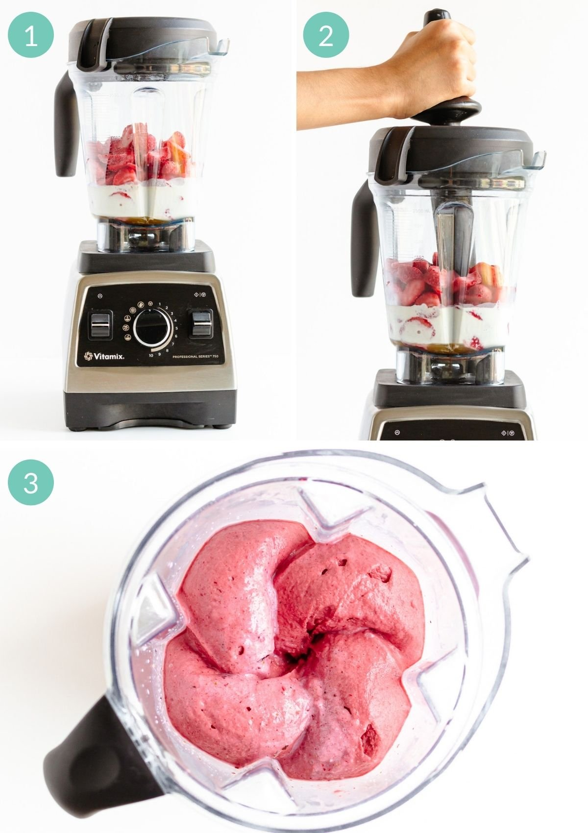 Photo collage showing step by step how to make ice cream in the Vitamix blender using frozen fruit.