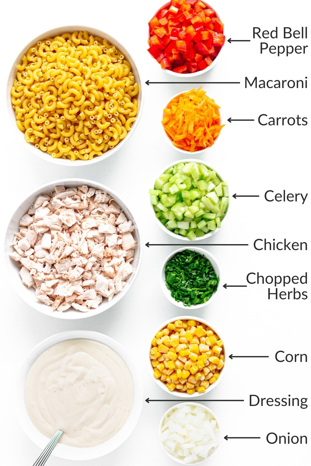 Labelled image showing ingredients for chicken macaroni salad.