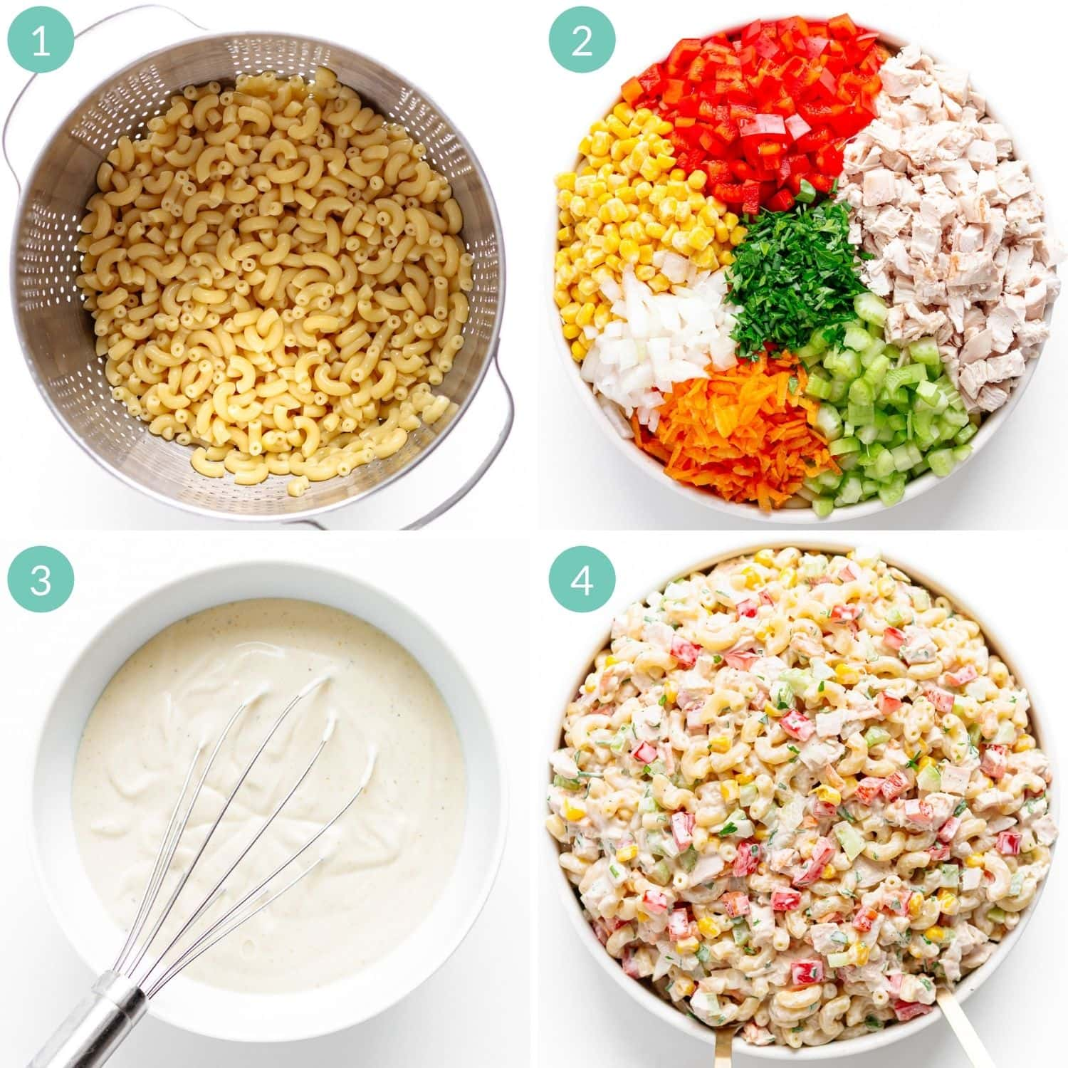 Photo collage showing step by step how to make chicken macaroni salad.