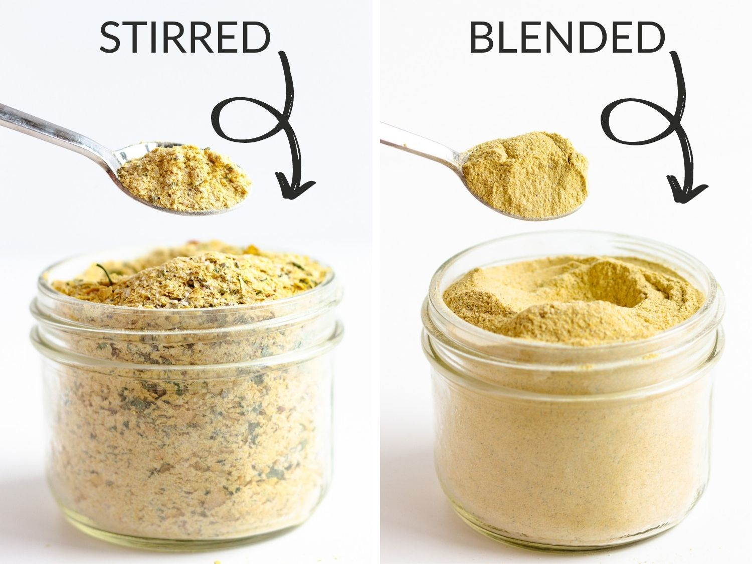 Graphic showing difference in texture between the stirred and blended version of bouillon powder recipe.